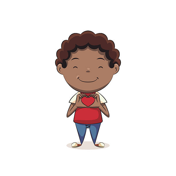 Boy making hands heart shape Children making hands heart shape, cute kid, hands love gesture, happy cartoon character, vector illustration, isolated, white background african american valentine stock illustrations