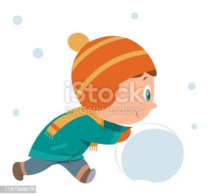 Vector Boy making snowman
