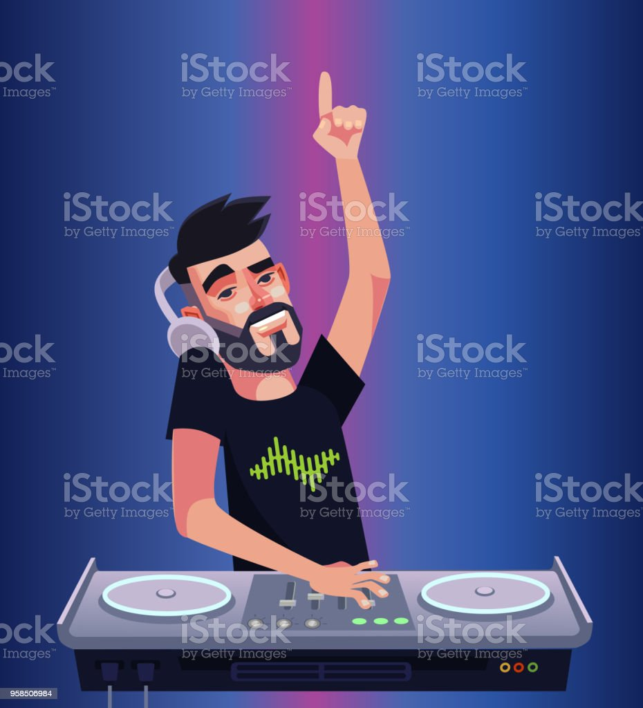 DJ boy man character mixer making music and having fun hands up. Night club disco bar isolated cartoon vector illustration vector art illustration
