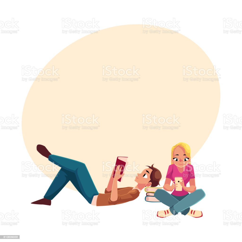Boy, man reading book lying, woman, girl using phone siting vector art illustration