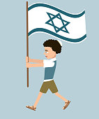boy marching with israel flag vector illustration