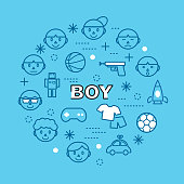 boy minimal outline icons