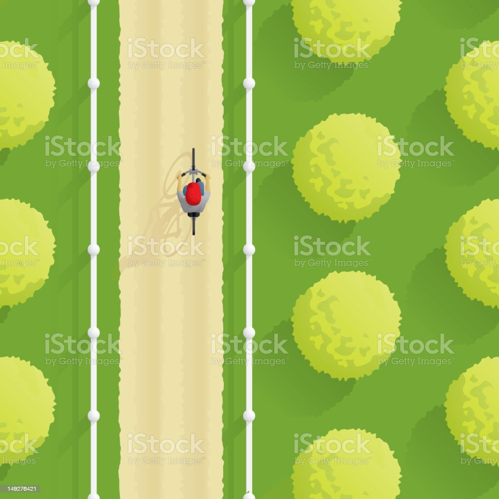 Boy on a bicycle - Aerial vector art illustration