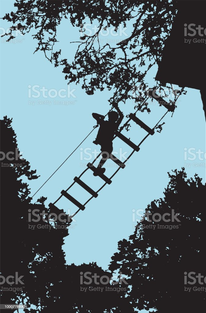 Boy on a ladder on an obstacle course in a tree tops vector art illustration