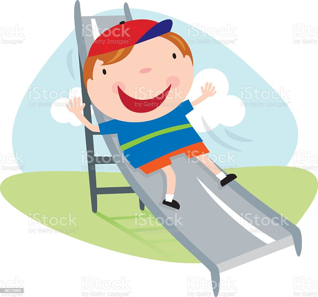 Boy on a Playground Slide royalty-free boy on a playground slide stock vector art & more images of boys