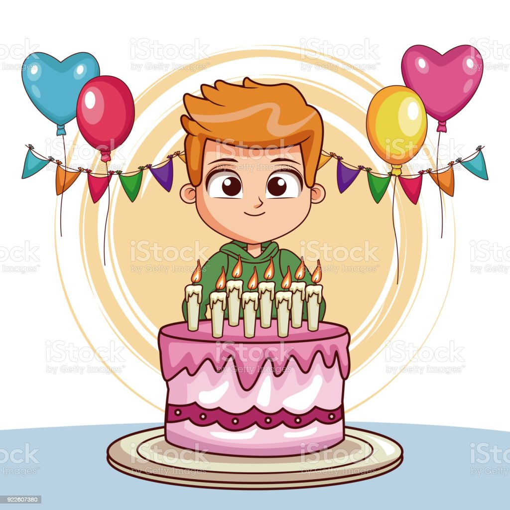 Boy On His Birthday With Cake And Balloons Royalty Free