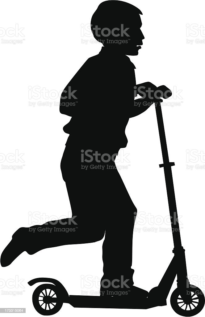 Boy on scooter royalty-free stock vector art