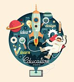Boy on space with rocket education design infographic,learn concept vector illustration