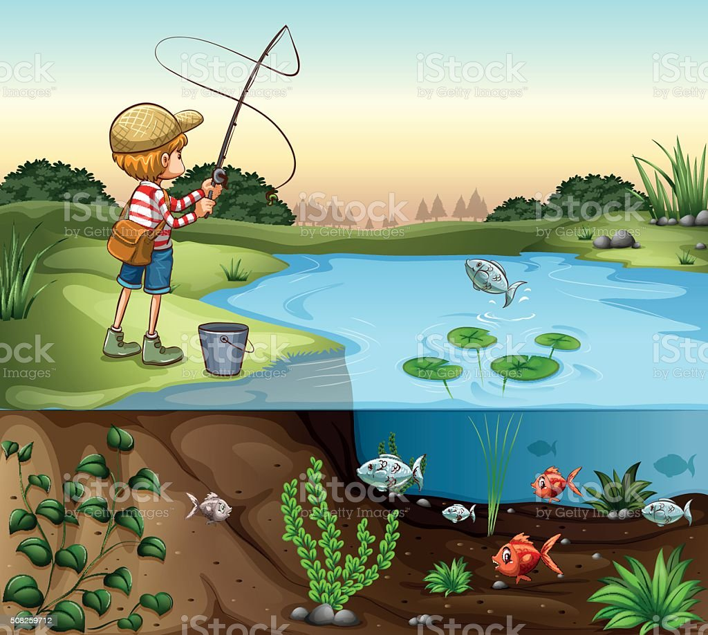 Boy on the river bank fishing alone vector art illustration