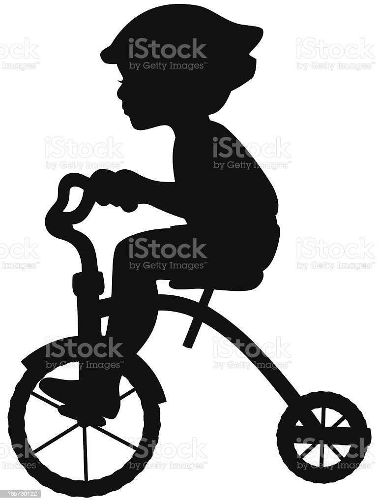Boy on Tricycle Silhouette vector art illustration