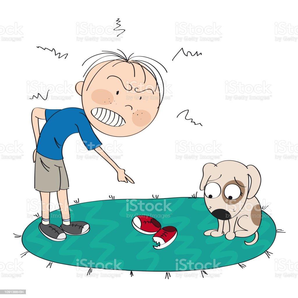 子犬は彼の悪い行動 オリジナルの手描きイラストのため申し訳ありません