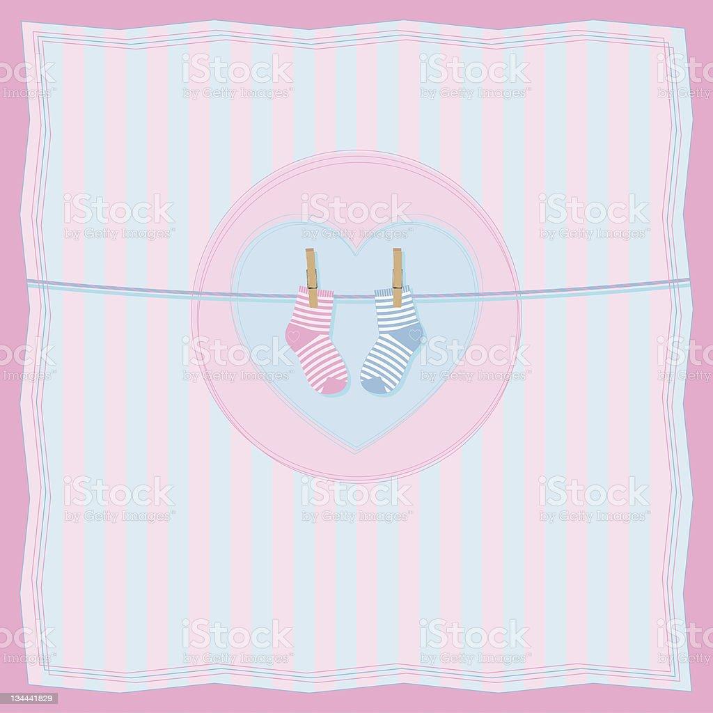 Junge Oder Mädchengeburt Postkarte Mit Baby Socken Stock Vektor Art ...