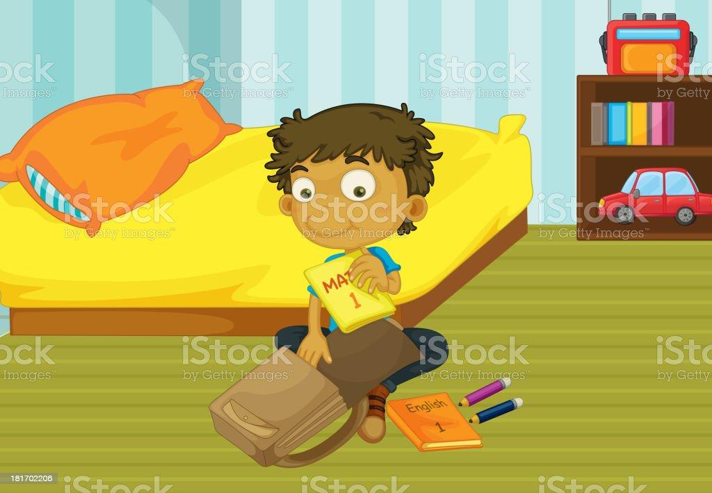 Boy packing his bag royalty-free stock vector art