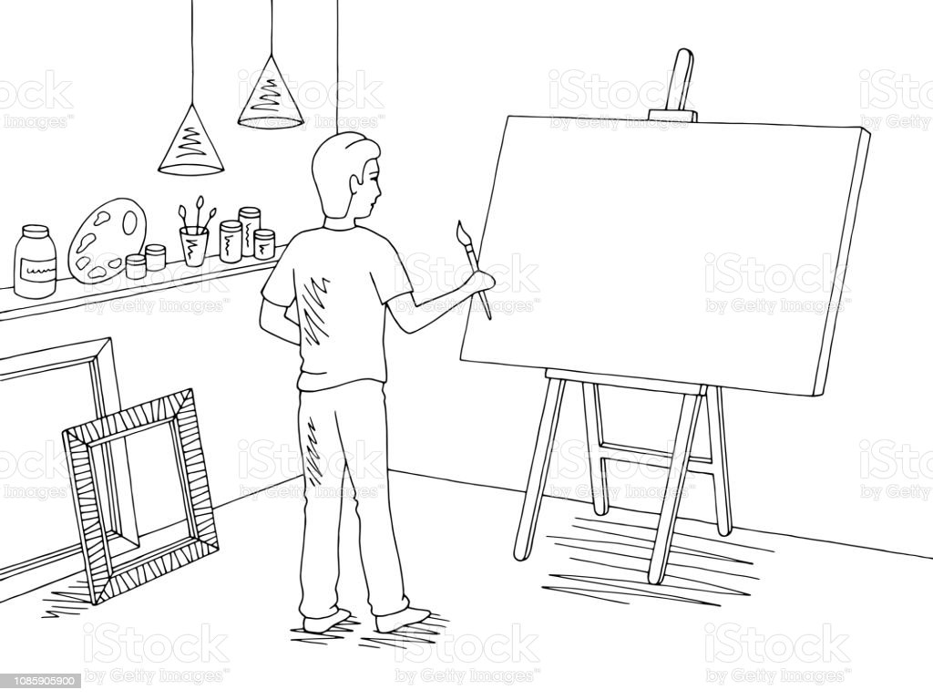 Boy painting a picture art workshop graphic black white interior sketch illustration vector stock illustration download image now
