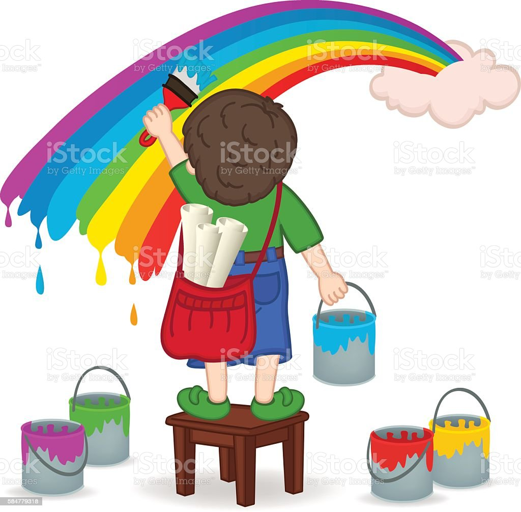 boy painting rainbow vector art illustration