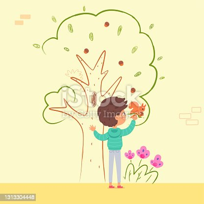 istock Boy painting wall in kindergarten with tree and squirrel. Kid doing creative art with brush vector illustration. Little happy boy drawing animal on branch with paint in room 1313304448
