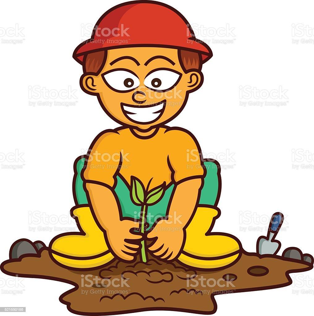 royalty free boy planting clip art vector images illustrations rh istockphoto com tree planting clipart clipart planting seeds