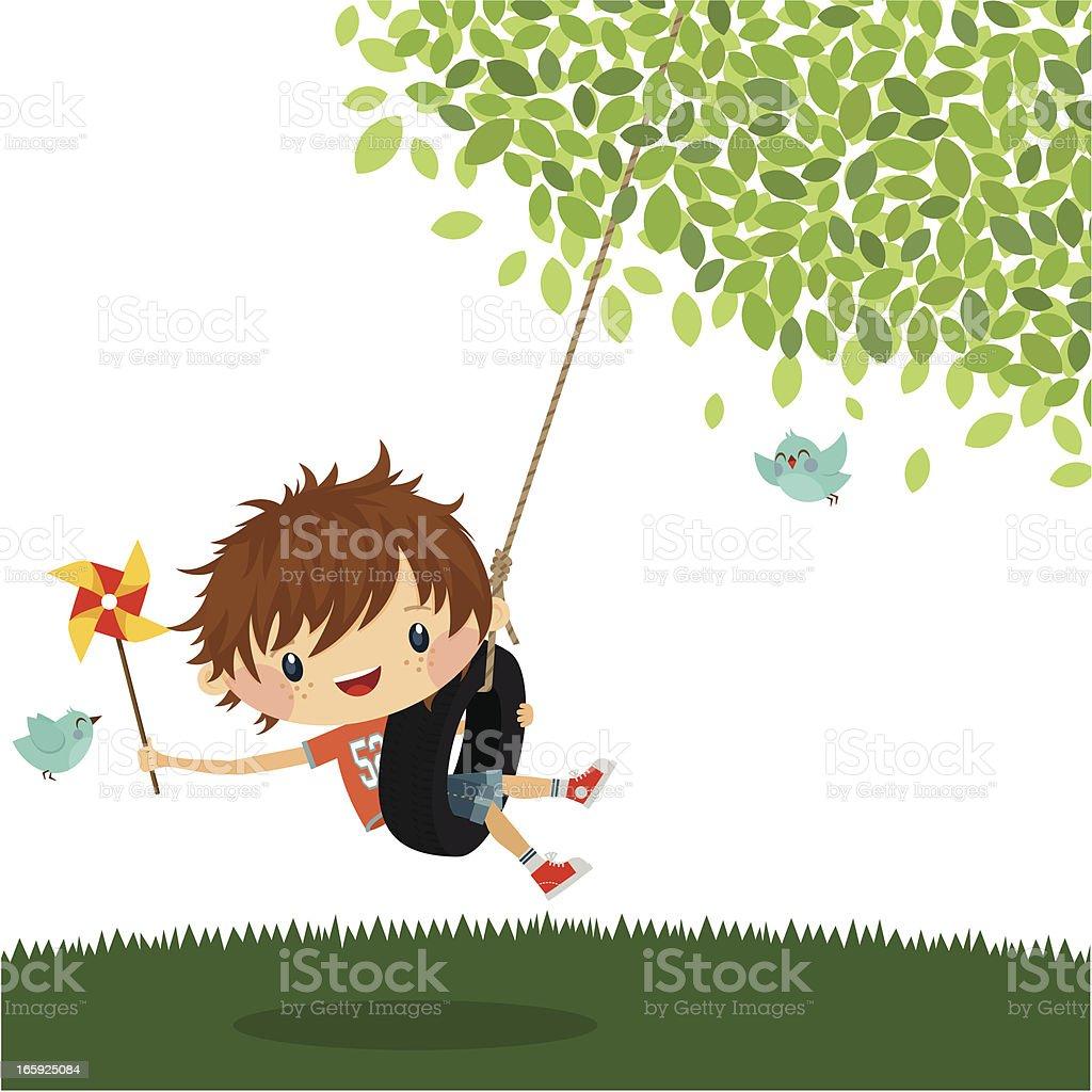 Boy play swing summer happy kid cute vector illustration vector art illustration