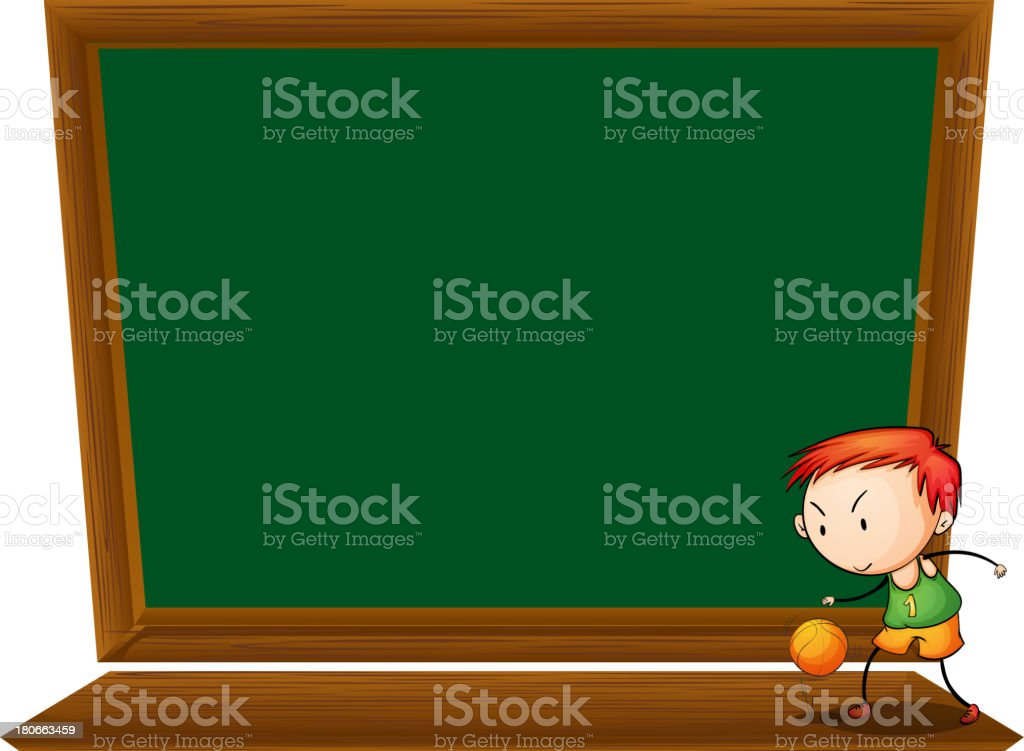 boy playing basketball in front of the empty blackboard royalty-free stock vector art