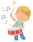 Vector boy playing drum