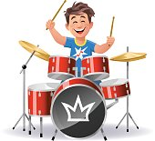 Vector illustration of a little cheerful boy playing drums, isolated on white.