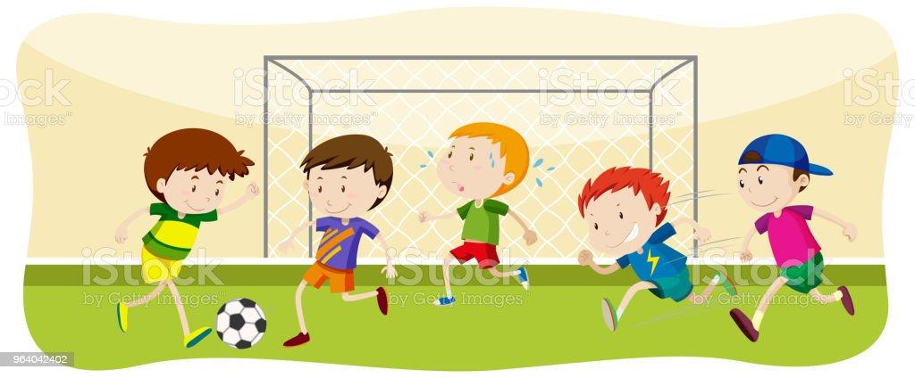 Boy Playing Football at Field - Royalty-free Activity stock vector