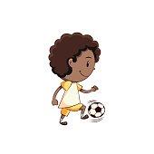 Boy playing football soccer
