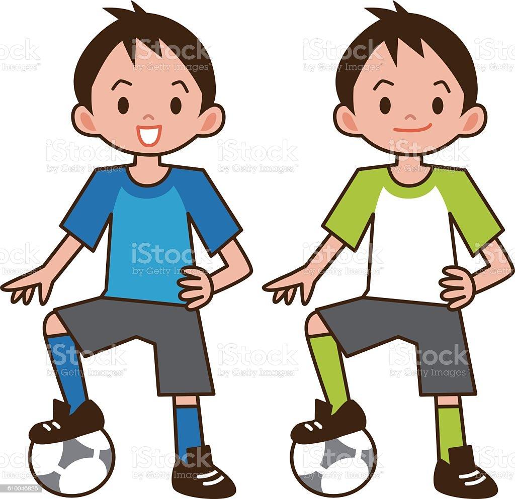 Junge Spielt Fussball Stock Vektor Art Und Mehr Bilder Von