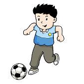 Boy playing Football -Vector Illustration