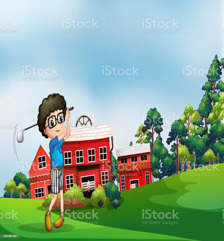 boy playing golf near the barn royalty-free stock vector art