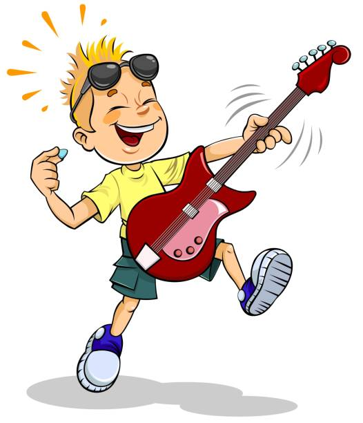 Boy playing guitar Vector illustration of cartoon little boy playing guitar lyric stock illustrations