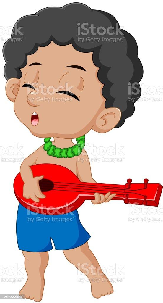 boy playing guitar vector art illustration
