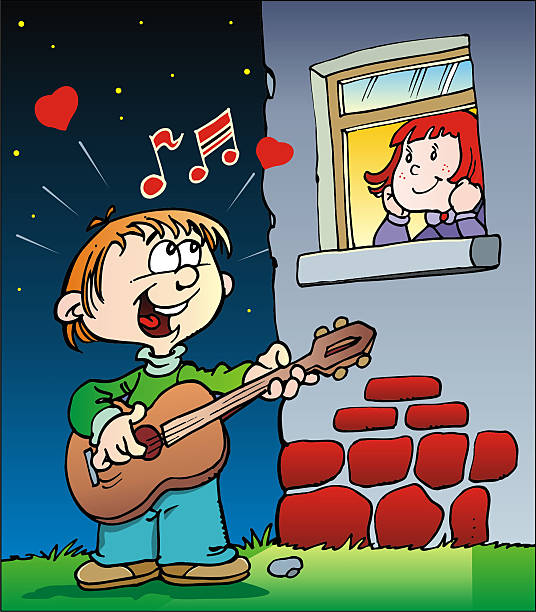 boy playing guitar - romeo and juliet stock illustrations, clip art, cartoons, & icons