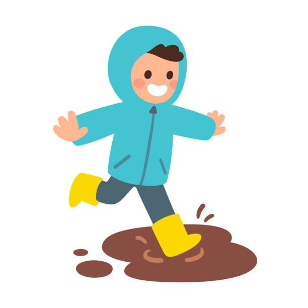 boy playing in mud puddle - kids playing in rain stock illustrations, clip art, cartoons, & icons