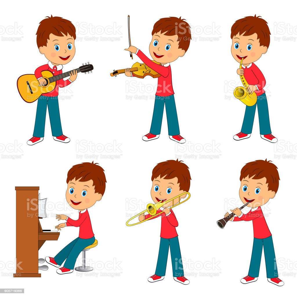 boy playing music vector art illustration