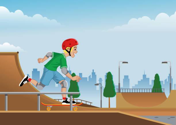 bildbanksillustrationer, clip art samt tecknat material och ikoner med pojke spelar skateboard på skate park - skatepark