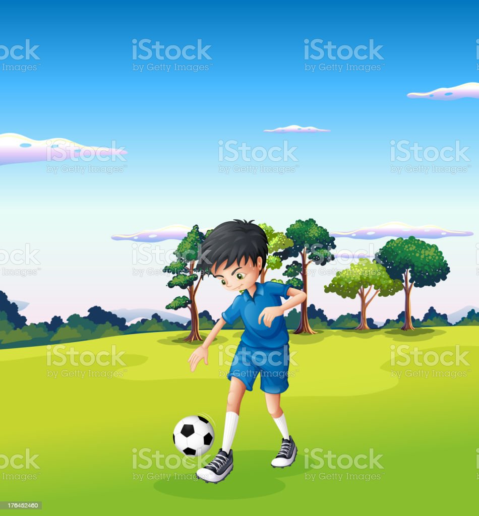 Boy playing soccer at the forest royalty-free stock vector art