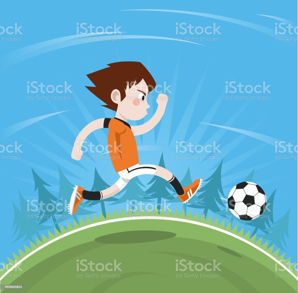 Junge Spielt Fussball Stock Vektor Art Und Mehr Bilder Von 8