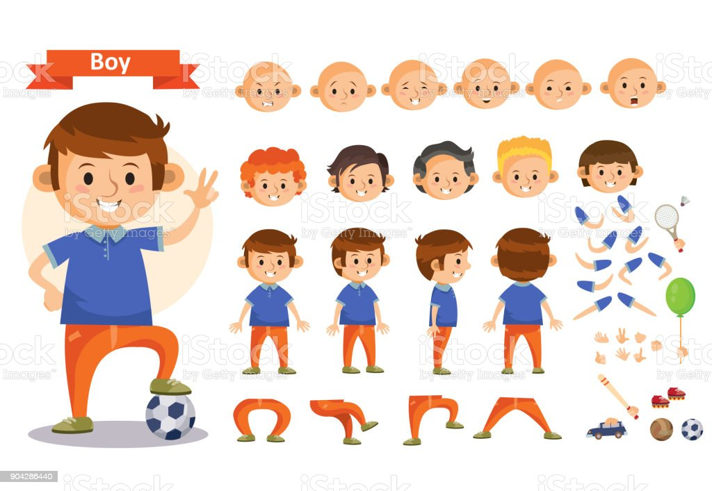 Boy playing sports and toys vector cartoon kid character constructor isolated body parts icons vector art illustration