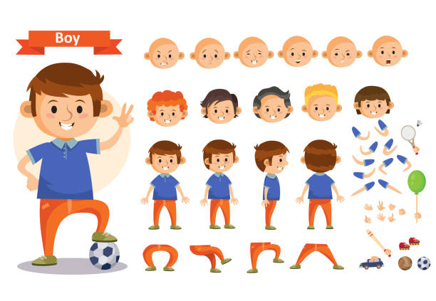 boy playing sports and toys vector cartoon kid character constructor isolated body parts icons - cartoon kids stock illustrations, clip art, cartoons, & icons