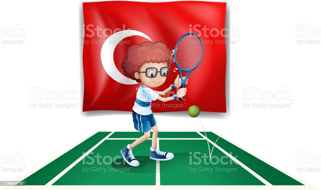 Boy playing tennis in front of the flag Turkey royalty-free stock vector art