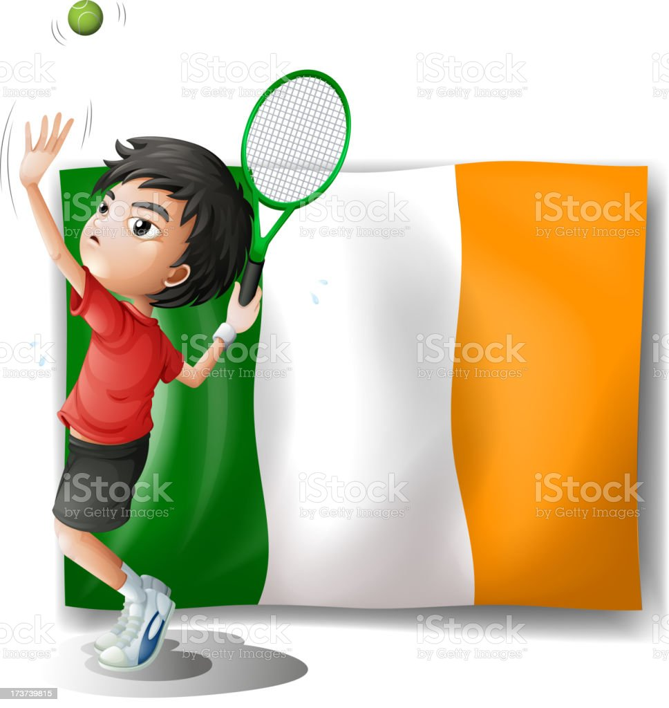 Boy playing tennis in front of the Ireland flag royalty-free stock vector art