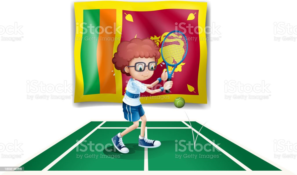 boy playing tennis in front of the Sri Lanka flag royalty-free stock vector art