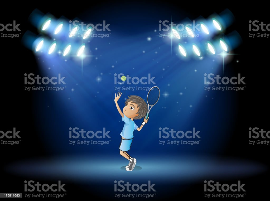 boy playing tennis in middle of the stage royalty-free stock vector art