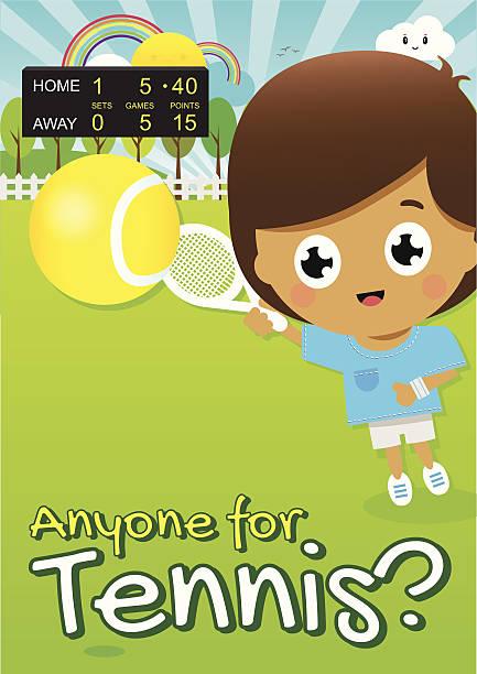junge spielt tennis im park mit score bord in der nähe - wimbledon stock-grafiken, -clipart, -cartoons und -symbole