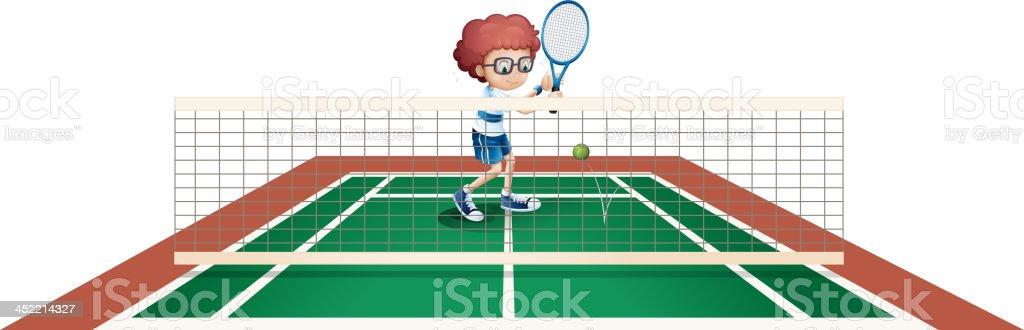 boy playing tennis royalty-free stock vector art