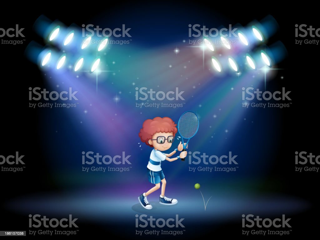 boy playing tennis with spotlights royalty-free boy playing tennis with spotlights stock vector art & more images of activity