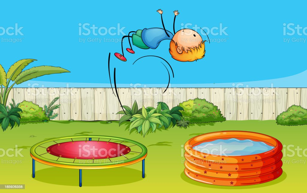 boy playing trampoline royalty-free stock vector art