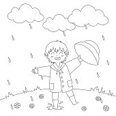 Boy Playing Under The Rain Coloring Page Vector Design