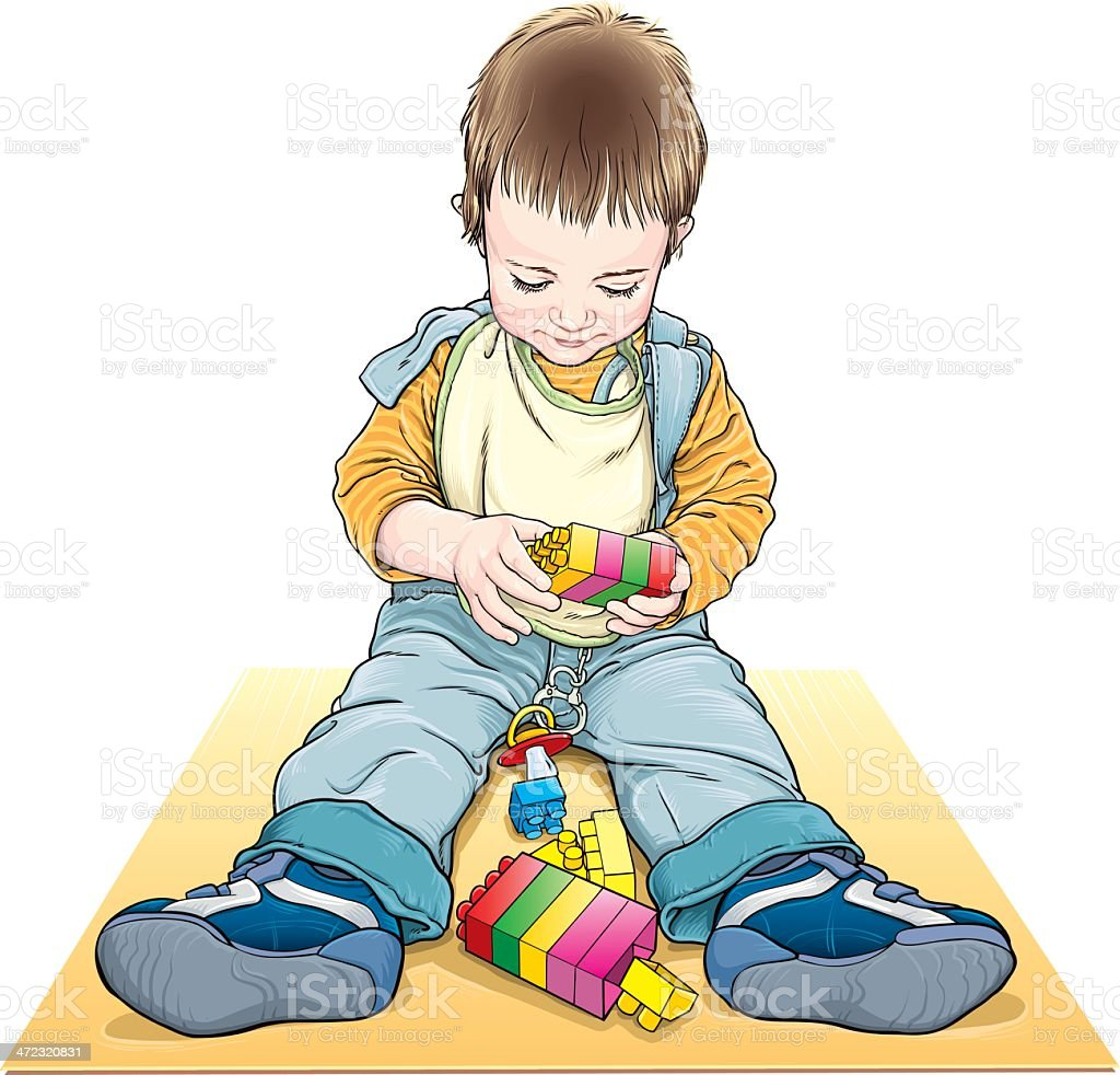 Boy playing royalty-free stock vector art